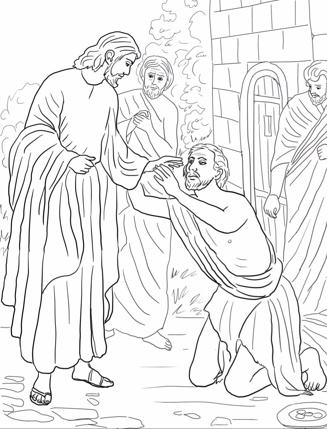 Jesus heals paralytic man page coloring pages for Jesus heals a paralytic coloring page