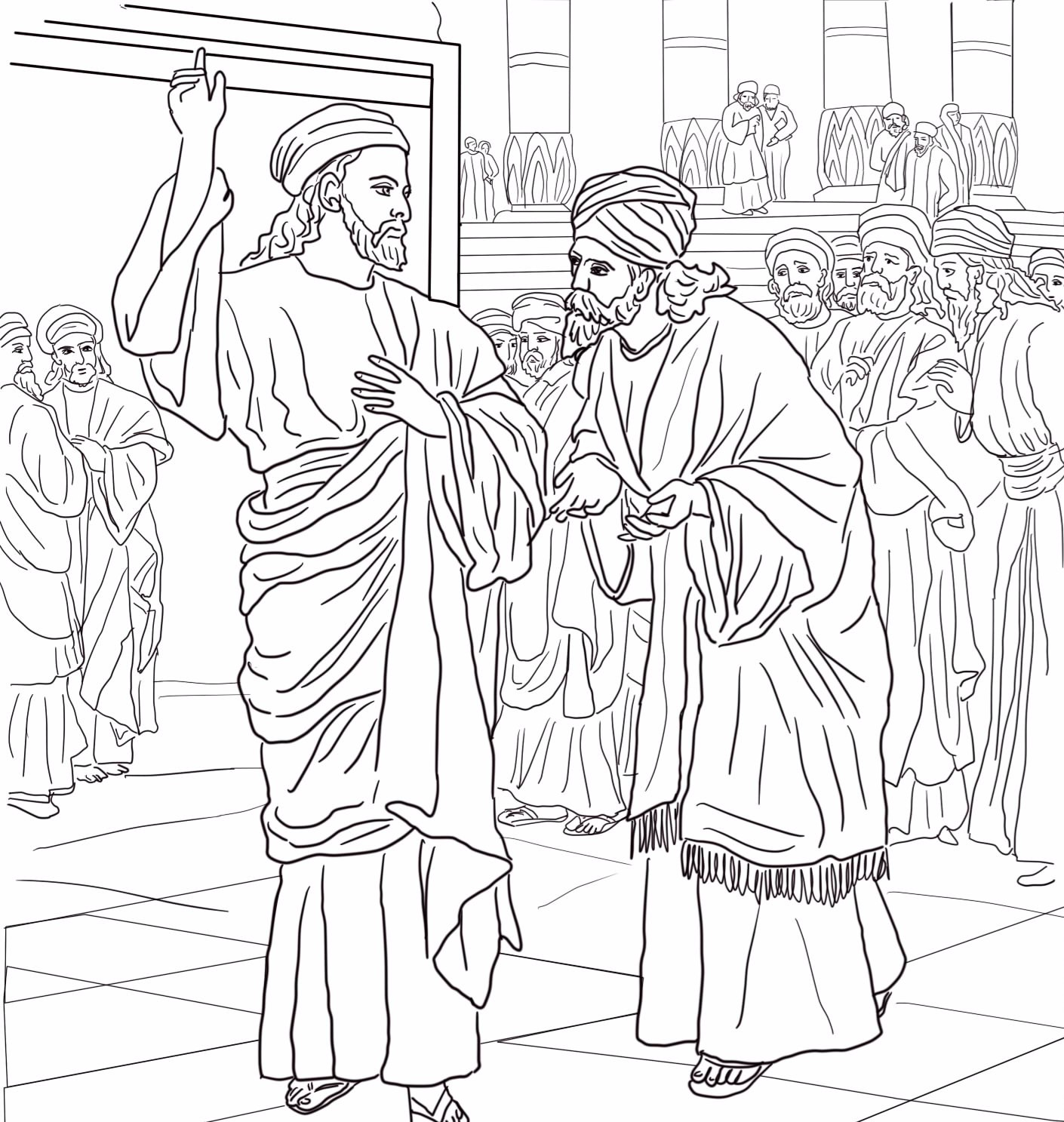Coloring pages question mark - Pharisees And Sadducees Question Jesus Coloring Page
