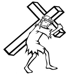 Jesus-Carrying-Cross-Upon-His-Shoulder-Coloring-Page